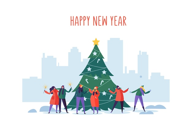 Festa di natale e capodanno sul paesaggio urbano con personaggi di persone piatte che celebrano