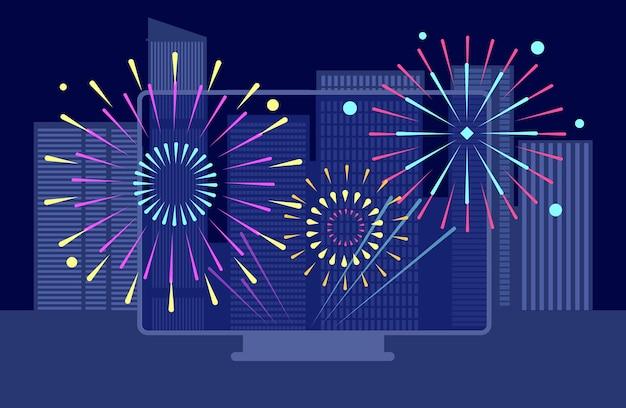 Fuochi d'artificio della città di capodanno. festival online, schermo televisivo con fuochi d'artificio notturni in centro. paesaggi di edifici, concetto di vettore di trasmissione di celebrazione asiatica. illustrazione felice anno nuovo, fuochi d'artificio celebrazione