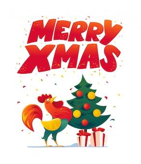 Congratulazioni per il nuovo anno. gallo, illustrazione del fumetto del ritratto del gallo. elemento della carta di festa. buon natale, felice anno nuovo memory card, design pubblicitario. simbolo dell'anno cinese.