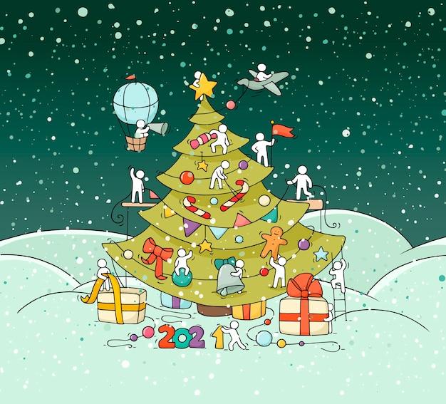 Cartello di saluto di capodanno. illustrazione di doodle del fumetto con le persone liitle si preparano alla celebrazione. sfondo disegnato a mano