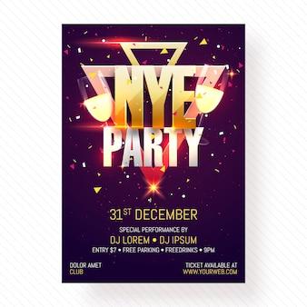 Poster di poster, banner o flyer di serata di new year.