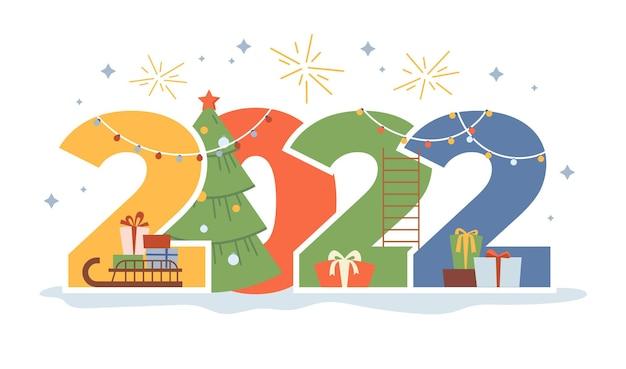 Numeri di cartoni animati piatti di capodanno con scatole regalo di albero di natale in confezioni di carta e fuochi d'artificio