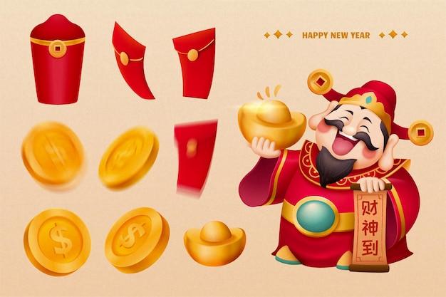 Design del personaggio del dio della ricchezza del nuovo anno con raccolta di denaro fortunato