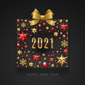 Biglietto di auguri di capodanno. confezione regalo astratta composta da decorazioni natalizie con fiocco dorato