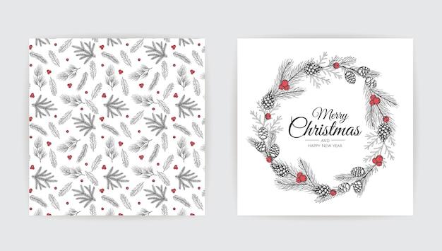 Disegno della cartolina d'auguri di nuovo anno con l'albero di natale.