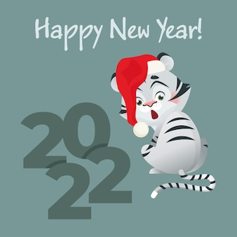 Biglietto di auguri per il nuovo anno con simpatica tigre bianca e numeri 2022 vettore dello zodiaco cinese