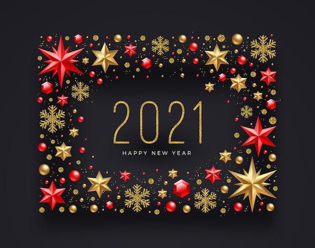 Biglietto di auguri di capodanno con decorazioni natalizie rosse e oro.