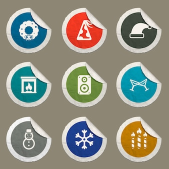 Icone del nuovo anno impostate per siti web e interfaccia utente
