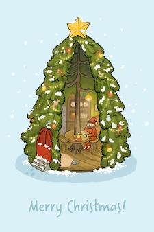 Carta di illustrazione di capodanno albero di natale con gnomo