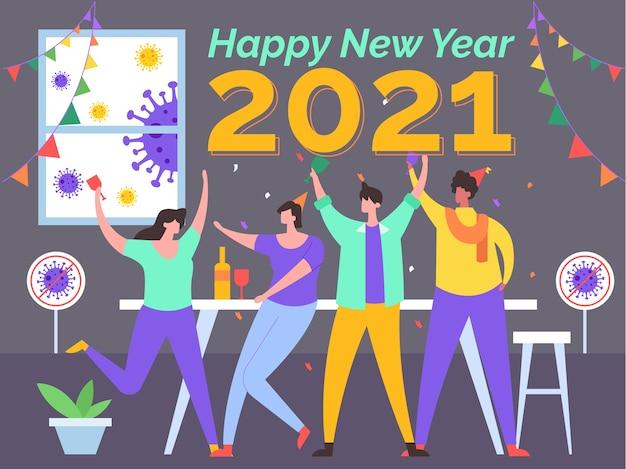 Illustrazione di nuovo anno senza virus corona
