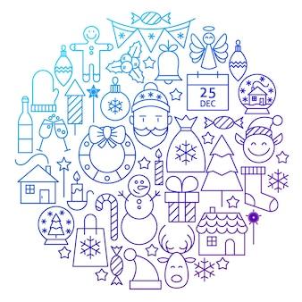 Nuovo anno linea icona cerchio design. illustrazione vettoriale di vacanze invernali e oggetti di buon natale.