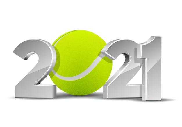 Numeri del nuovo anno 2021 con pallina da tennis isolata su fondo bianco. modello di design creativo per biglietti di auguri, banner, poster, volantini, inviti a una festa o calendario. illustrazione vettoriale