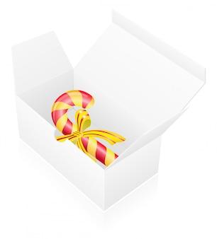 Scatola di imballaggio del nuovo anno con le caramelle.