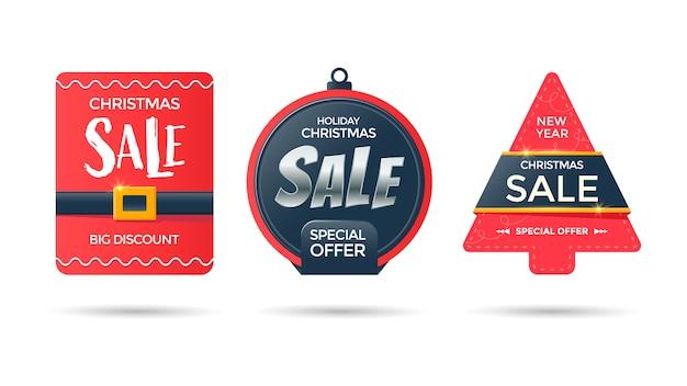 Tag di vendita di carta di capodanno. etichette promozionali rosse della palla e dell'albero di natale