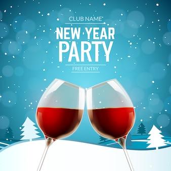 Fondo del vino del champagne dell'alcool di celebrazione della festa del nuovo anno. paesaggio invernale con due bicchieri e decorazioni natalizie coriandoli.