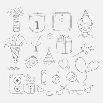 Fondo di scarabocchio della festa di capodanno disegnato a mano