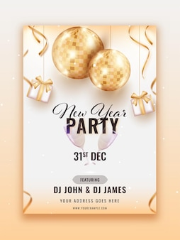Volantino festa di capodanno design con palle da discoteca dorate