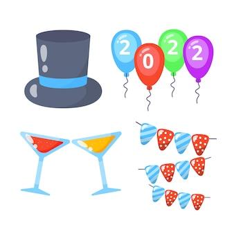 Set di icone di festa di capodanno collezioni con palloncini e bevande.