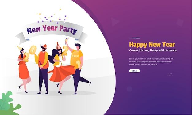 Illustrazione di festa di capodanno con gli amici sul concetto di banner web