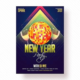 Poster del partito di nuovo anno, bandiera o disegno del volantino.