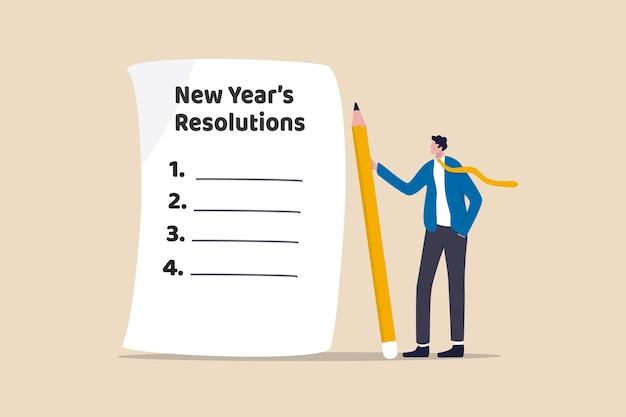 Buoni propositi per l'anno nuovo, obiettivo stabilito o concetto di obiettivo aziendale