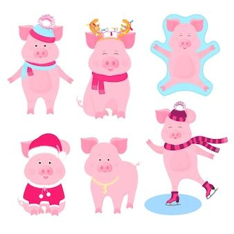 Set di simpatici maiali di capodanno. personaggi divertenti. costume da babbo natale, angelo della neve, maialino che pattina, con medaglia d'oro, con cappello e sciarpa.