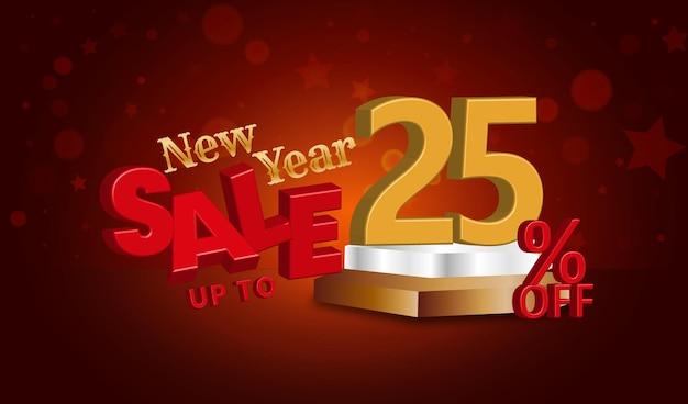 Offerta di vendita di capodanno testo 3d con uno sconto del 25%