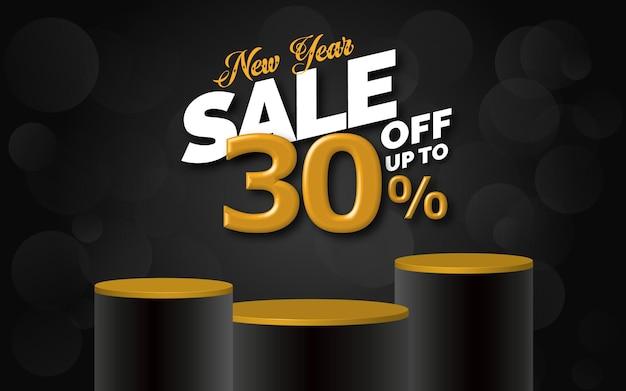 Offerta di vendita di capodanno testo 3d con il 30% di sconto