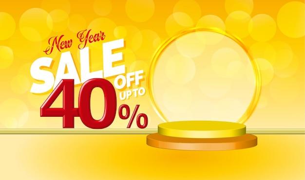 Offerta di vendita di capodanno testo 3d con il 40% di sconto