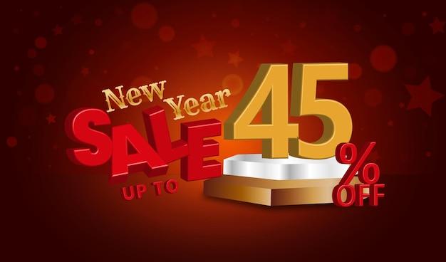 Offerta di vendita di capodanno testo 3d con il 45 percento di sconto