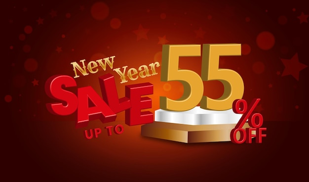 Offerta di vendita di capodanno testo 3d con il 55 percento di sconto