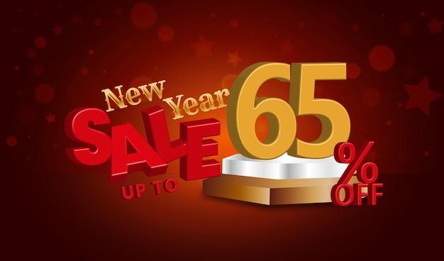 Offerta di vendita di capodanno testo 3d con uno sconto del 65 percento