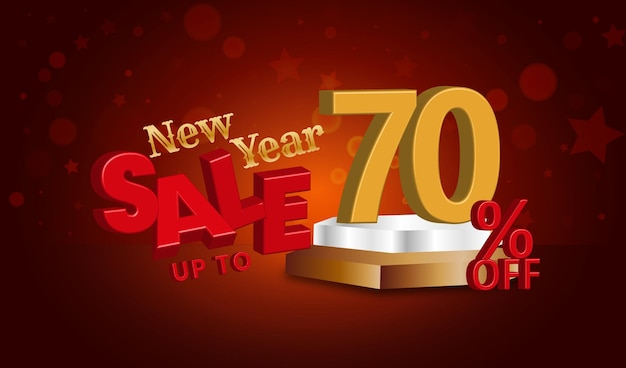Offerta di vendita di capodanno testo 3d con il 70% di sconto