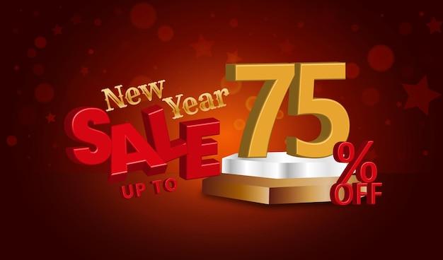 Offerta di vendita di capodanno testo 3d con il 75% di sconto