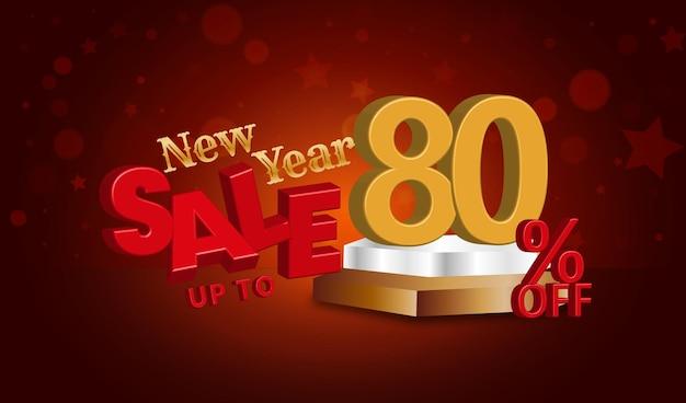 Offerta di vendita di capodanno testo 3d con uno sconto dell'80%