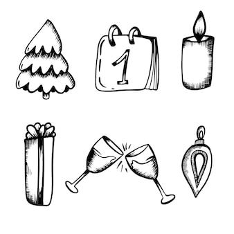 Anno nuovo set di isolati in mano disegnare stile tangerine regalo lecca-lecca champagne ramo giocattolo