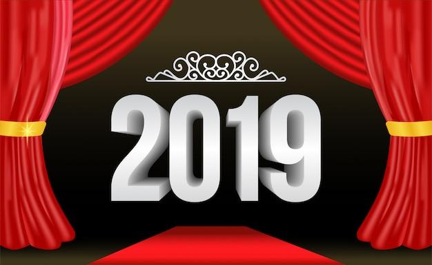 Numero d'argento del nuovo anno con la tenda rossa Vettore Premium