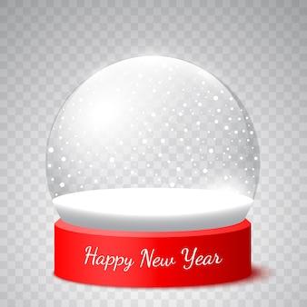 Globo di neve di capodanno su sfondo trasparente. illustrazione.