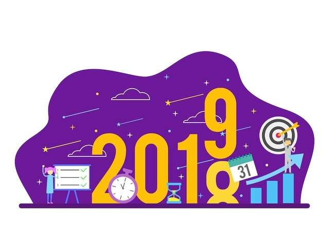 Concetto della gente di risoluzione di scopo di successo del nuovo anno