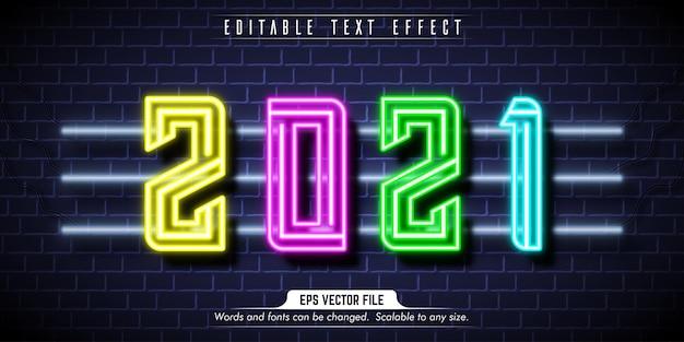 Testo del nuovo anno, effetto di testo modificabile in stile neon