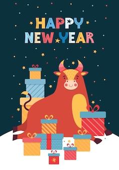 Illustrazione vettoriale di capodanno per biglietto di auguri. toro divertente e un mucchio di scatole regalo colorate