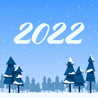 Paesaggio invernale di capodanno, abeti dell'illustrazione di vettore di stile piano della foresta innevata