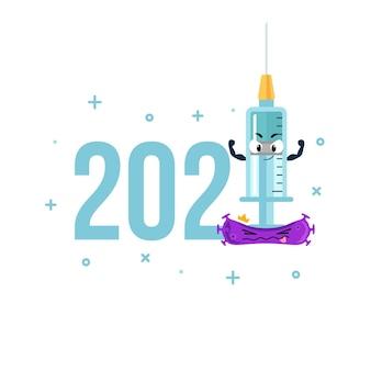 Anno nuovo con vaccinazione con siringa contro l'illustrazione del concetto di virus