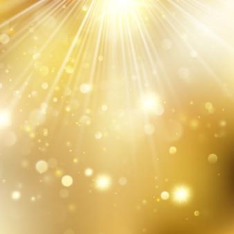 Sfondo sfocato di natale e capodanno con stelle lampeggianti. sfondo incandescente di vacanza dorata di natale. e include anche