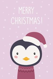 Un biglietto di capodanno pinguino simpatico cartone animato con un cappello