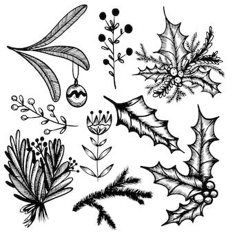 Set di scarabocchi di capodanno in stile handdraw albero di fiori di bouquet di natale su sfondo bianco