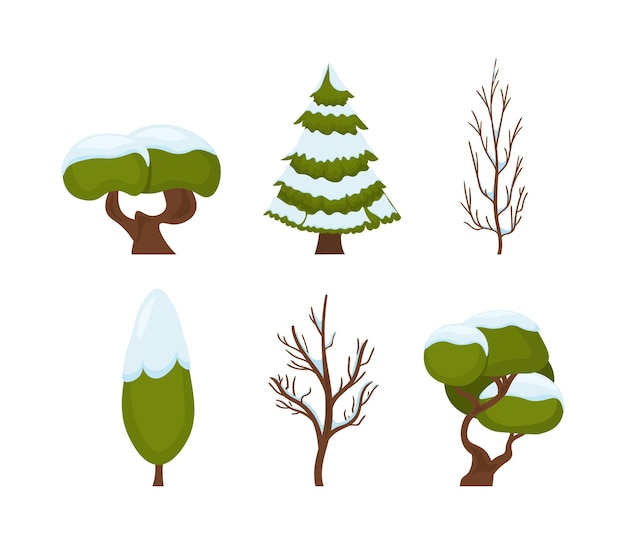Capodanno e natale simbolo tradizionale albero di inverno nella neve illustrazione