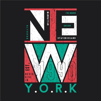 Illustrazione grafica di vettore di progettazione di tipografia della maglietta dell'estratto di new york