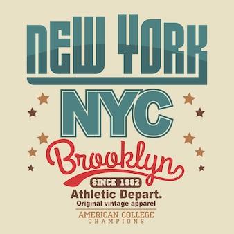 Emblema tipografico di new york brooklyn sport wear, grafica con timbro t-shirt, stampa tee, design di abbigliamento sportivo. vettore