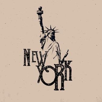 New york city apparel design con statua della libertà